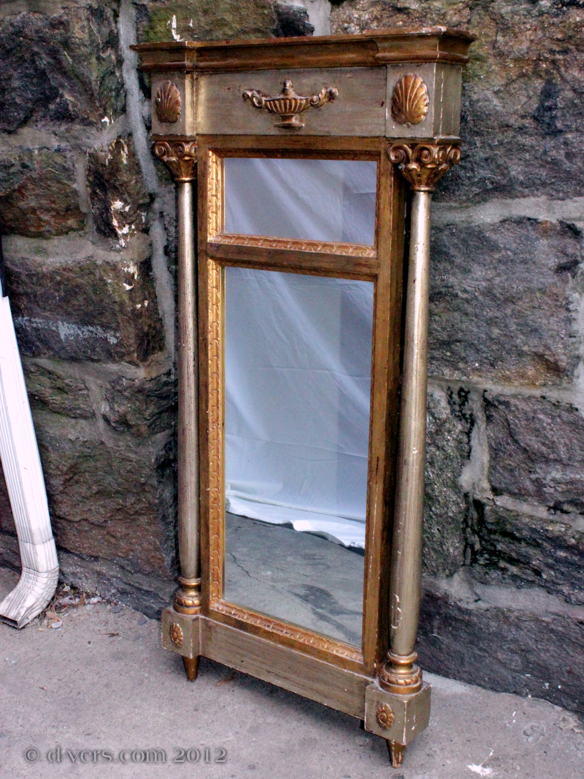 Antique Mirror from the 1800s with Aladdin Lamp