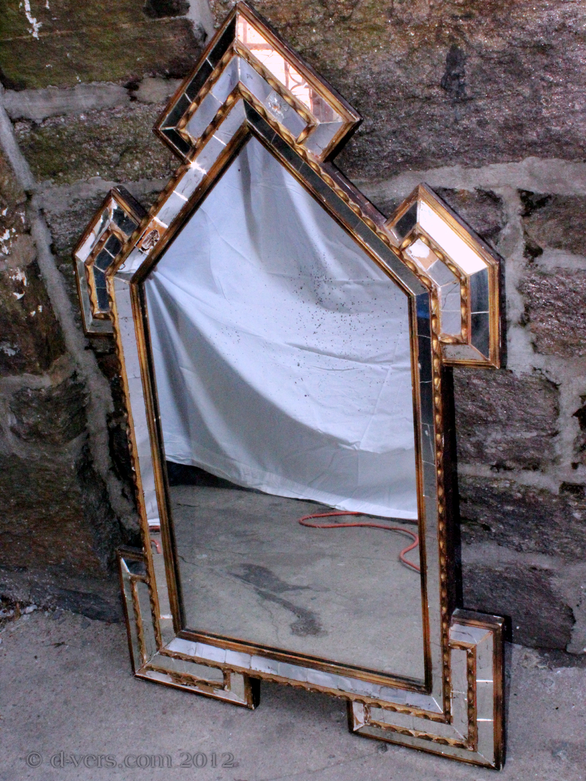 Pieced Glass Antique Mirror From Restoration Period