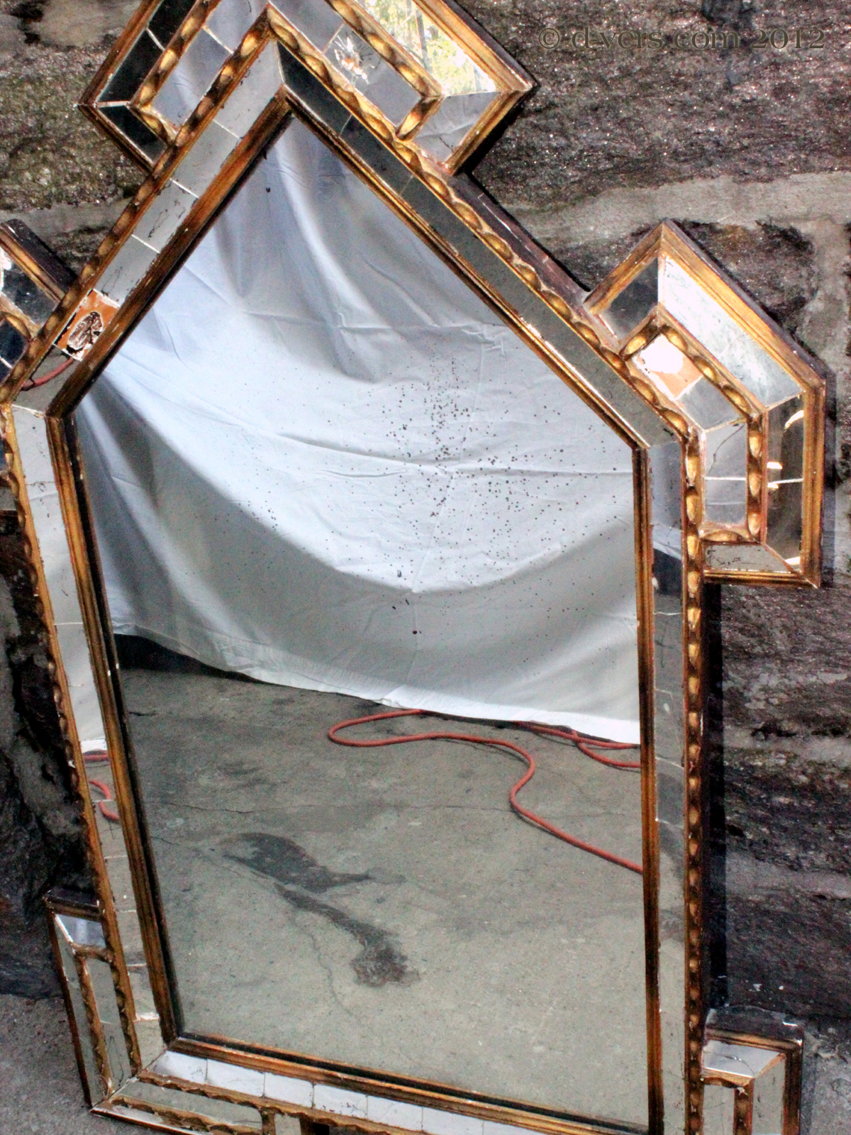 Pieced Glass Antique Mirror from the 1800s