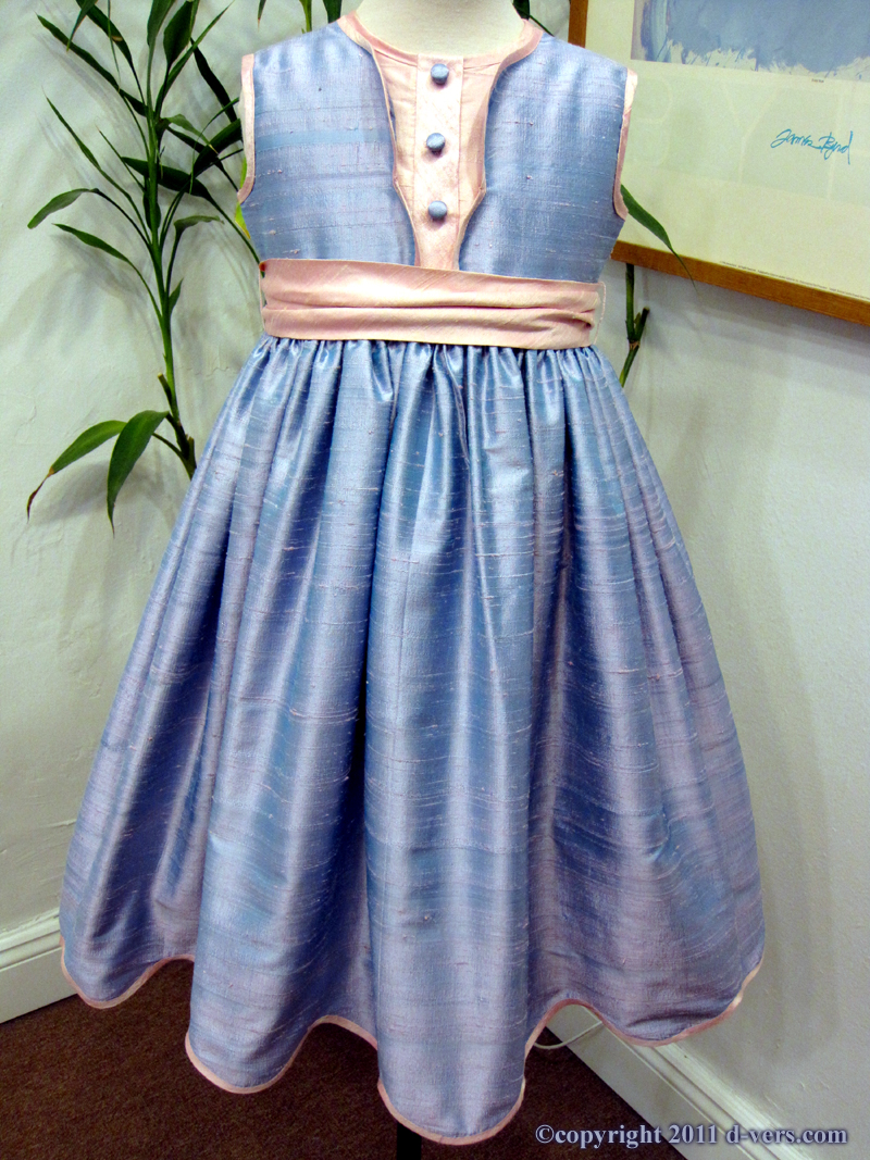 Girls Custom Handmade Couture Flower Girl Special Occasion Blue and Pink Dress