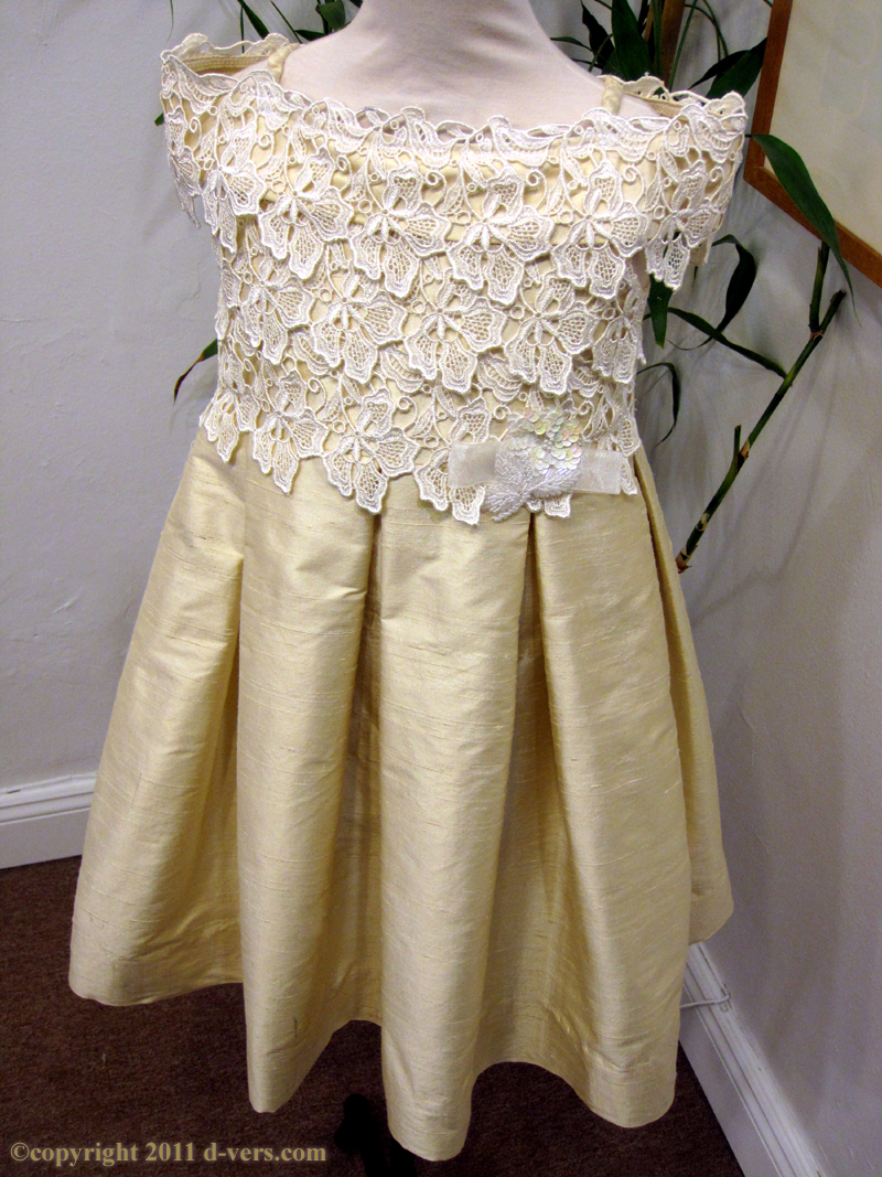Girls Custom Handmade Couture Special Occasion Skylar Dress in Straw Color with White Lace Bodice
