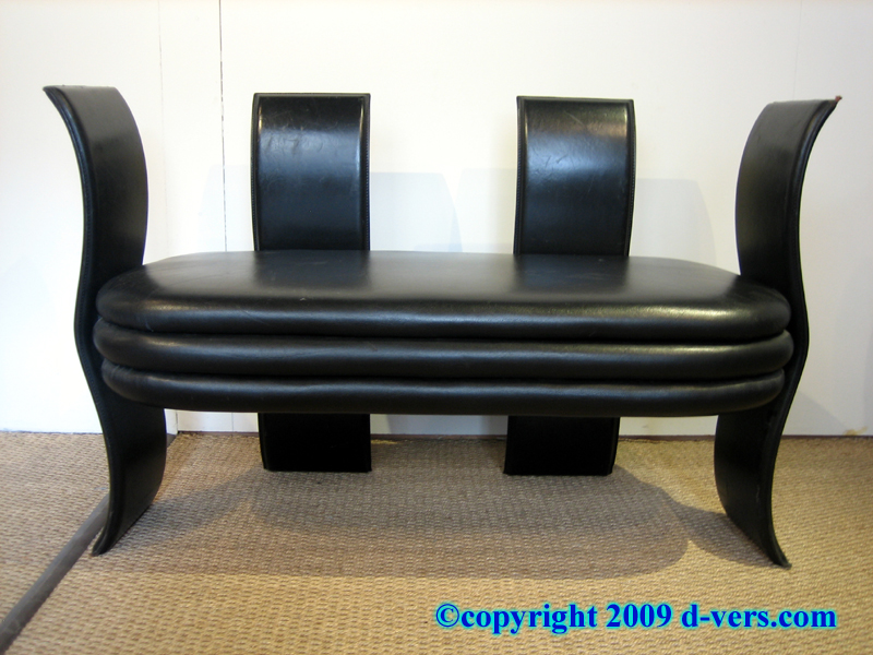 Art Deco Black Leather Settee Reversible
