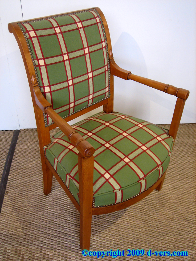 Directoire style open arm chair in cherry wood