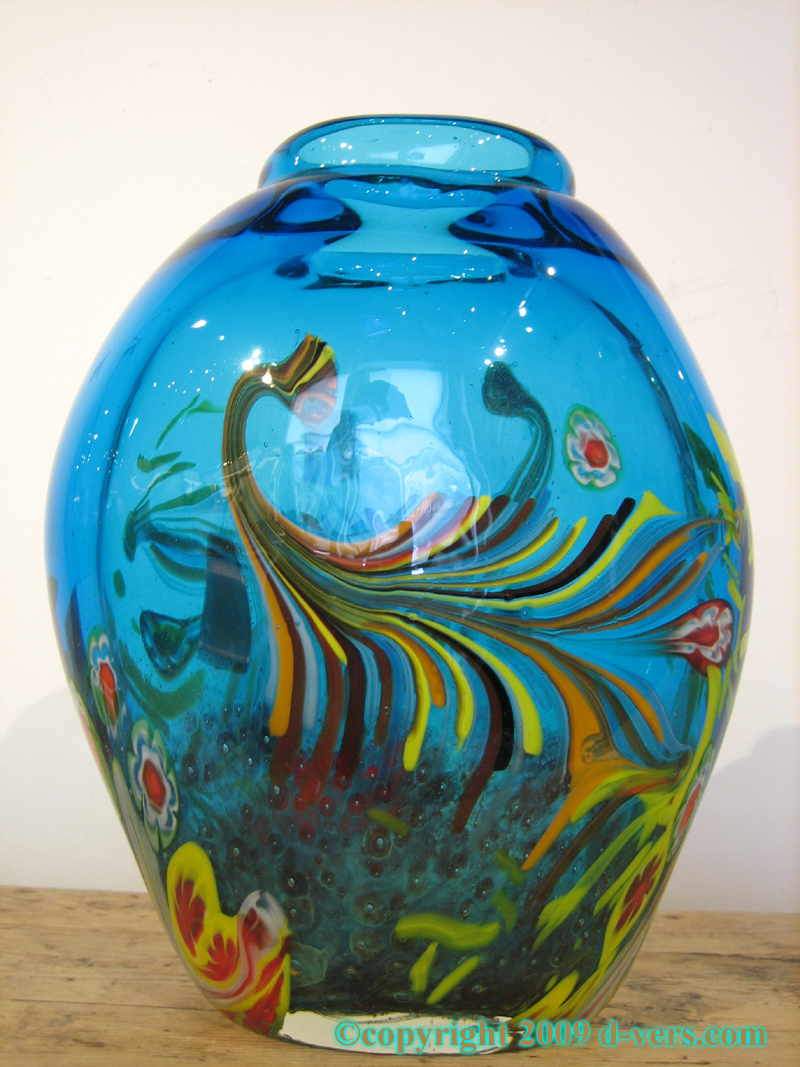 Murano vase art glass blue floral 20th century italian shop italian murano art glass vase with blue floral design made in italy in the 20th reviewsmspy