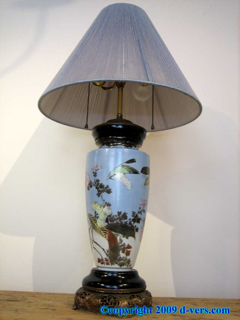 Urn shaped Japanese Porcelain Lamp with bird and floral designs on a delicate light blue ground
