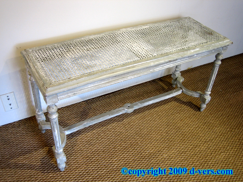 French Louis XVI Canned Bench With Fluted Legs