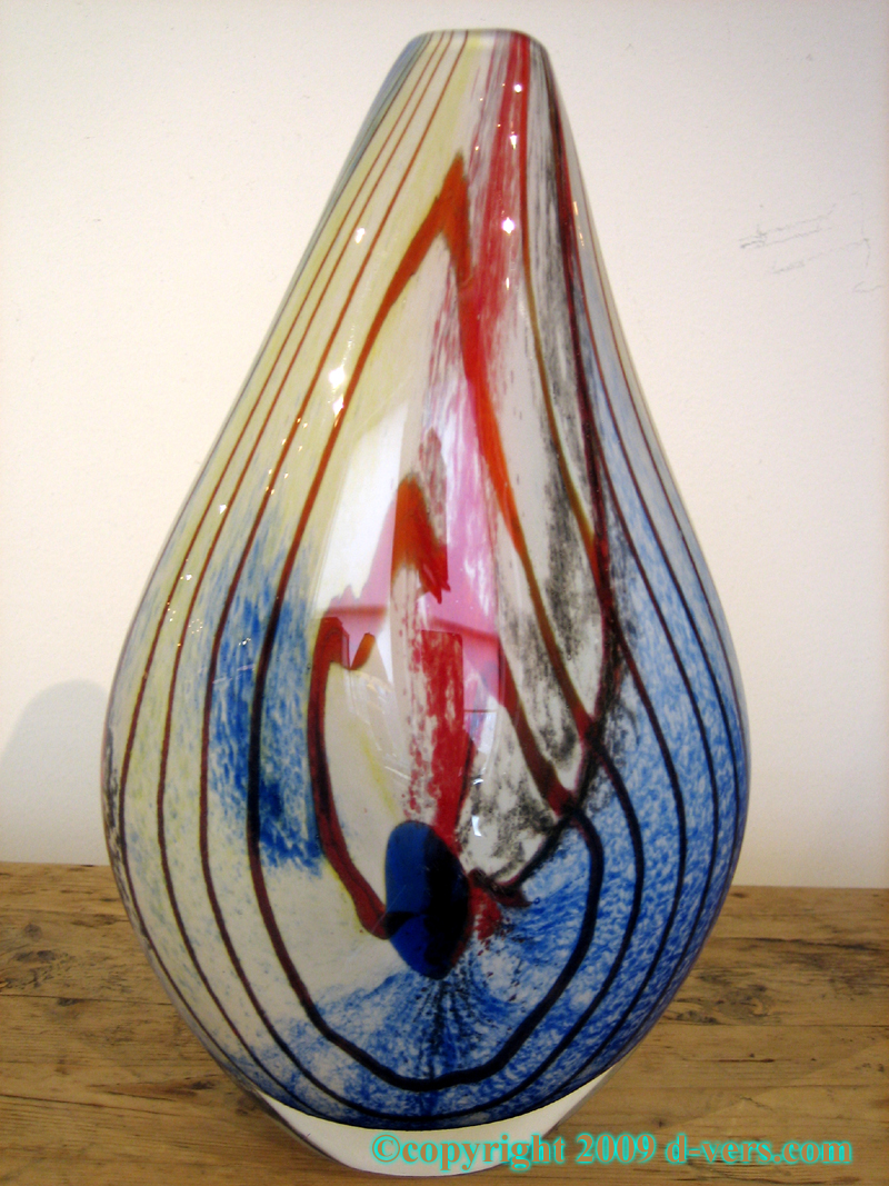 Red Swirled Design Murano Art Glass Vase