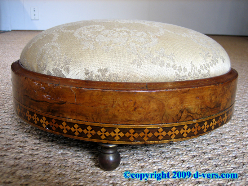 Regency Footstool from France in the 19th Century, with marquetry inlay
