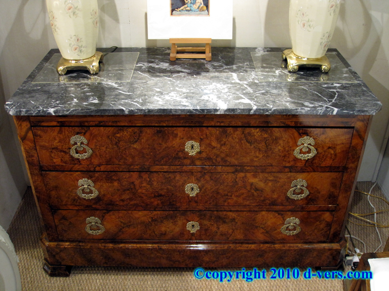 Louis Philippe 3 Drawer Commode with Marble Top and Burl Walnut Veneer