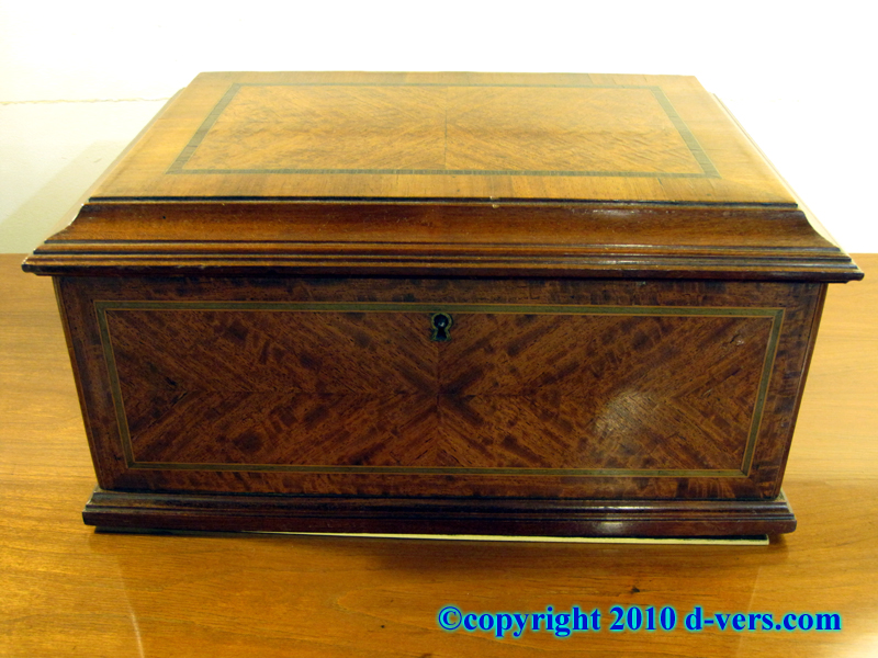 Walnut Inlaid Box 19th Century French from the Chateau of the Marquis de Lavallette Droue