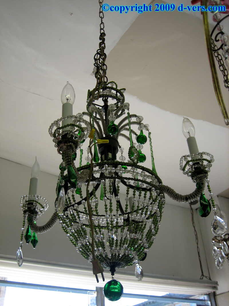 Kelly Green Glass Czech Crystal Hanging Lamp Antique
