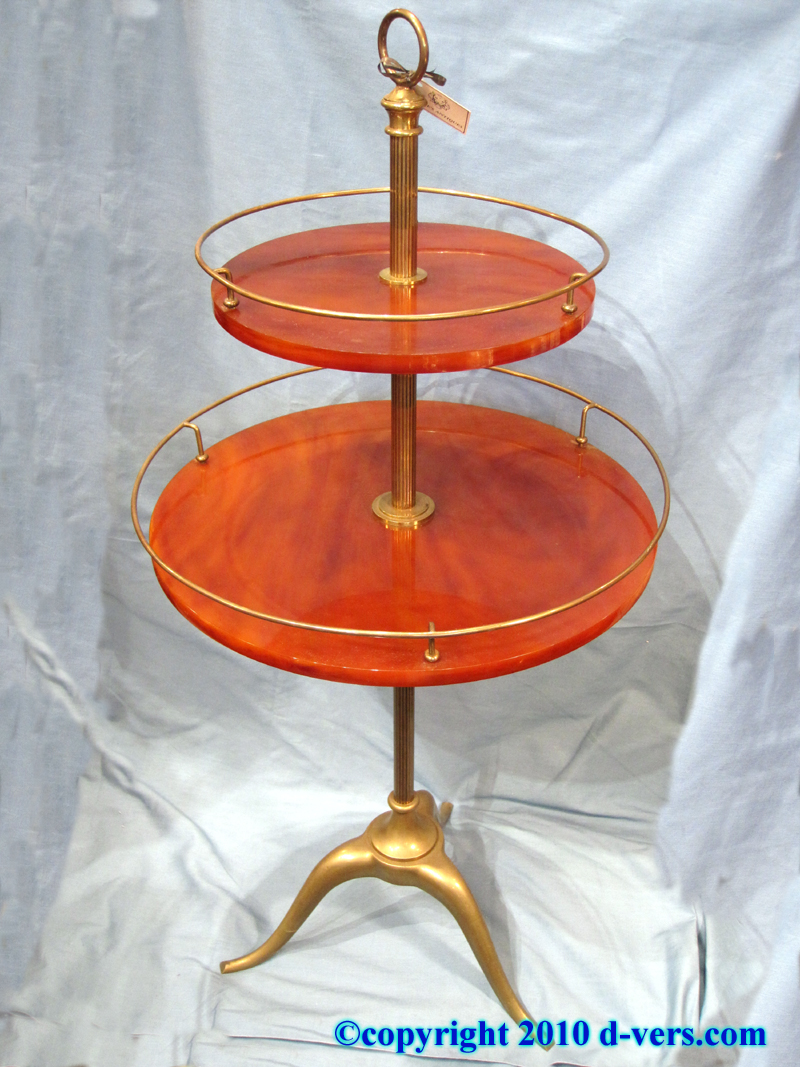 Art Deco Two-Tiered Table with Brass Gallery, England, 20th Century