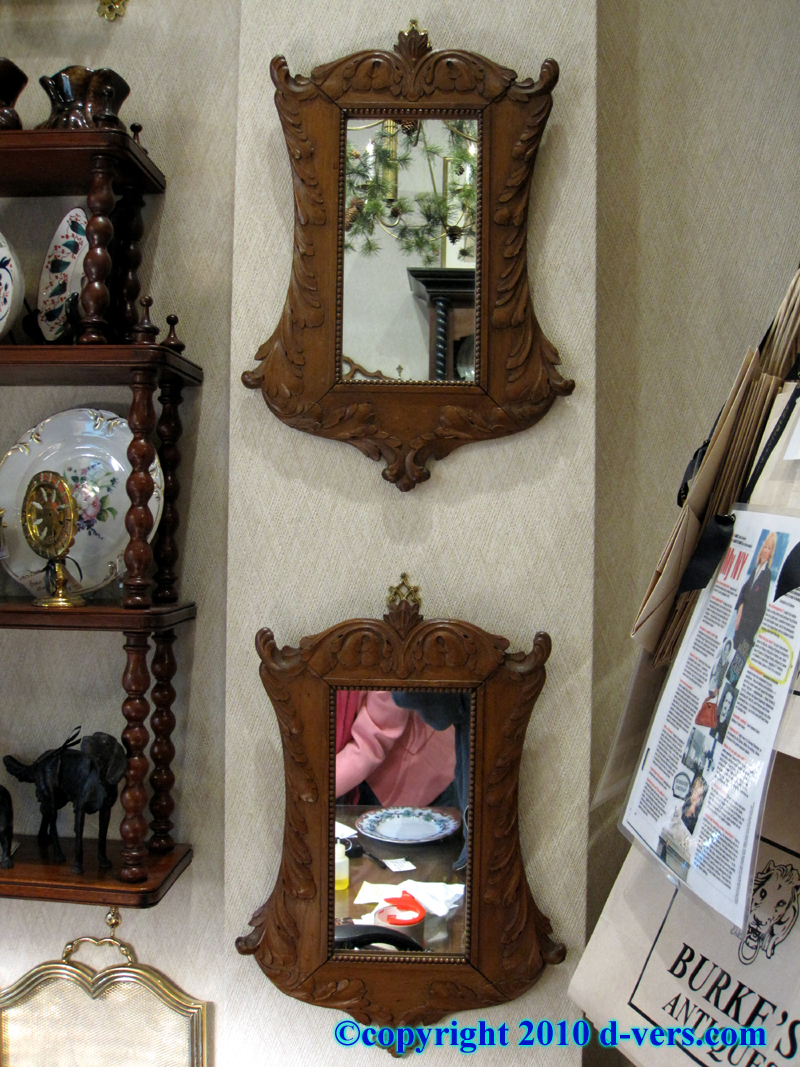 German Black Forest Wood Mirror Pair Hand Carved
