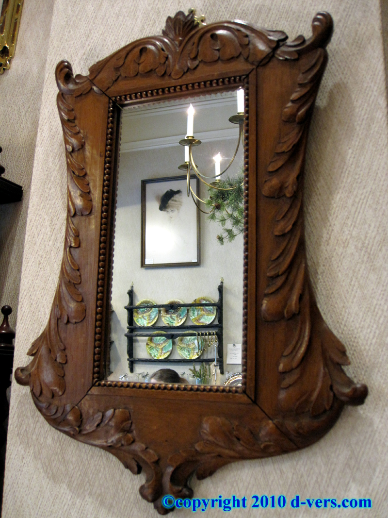 Pair of Hand Carved Black Forest Mirrors With Light Wood