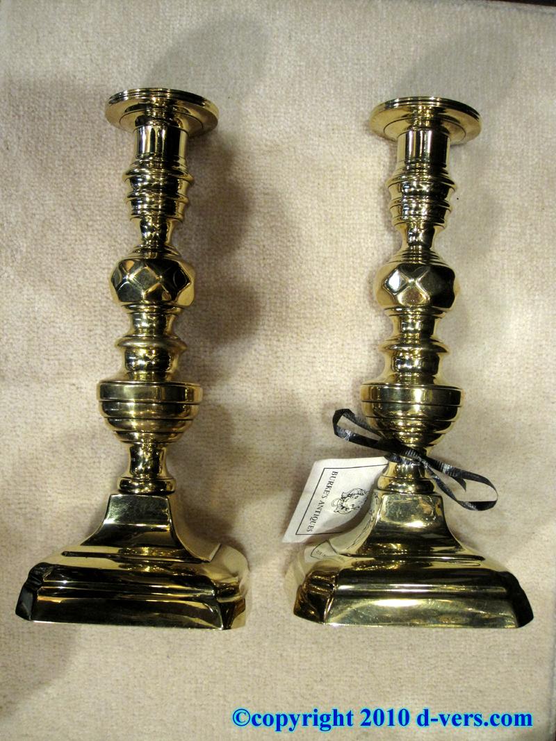 Pair of Brass Candlesticks, English, 19th Century