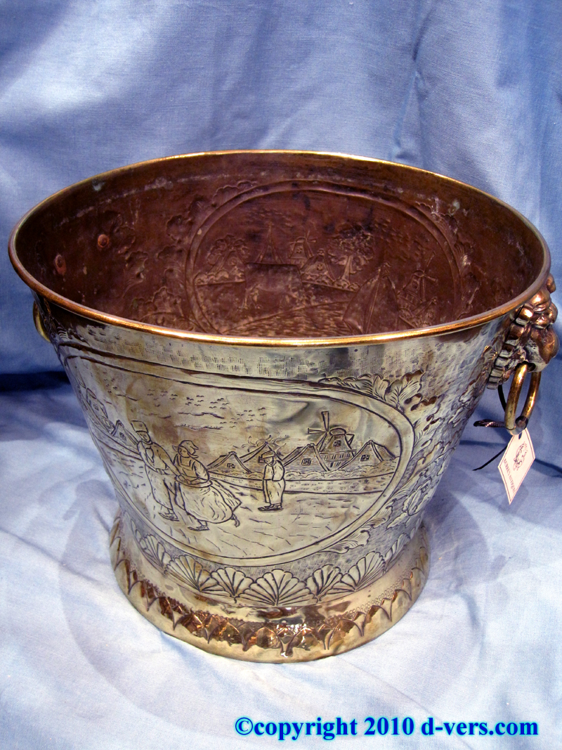 19th Century Dutch Brass Jardiniere with Country Scenes