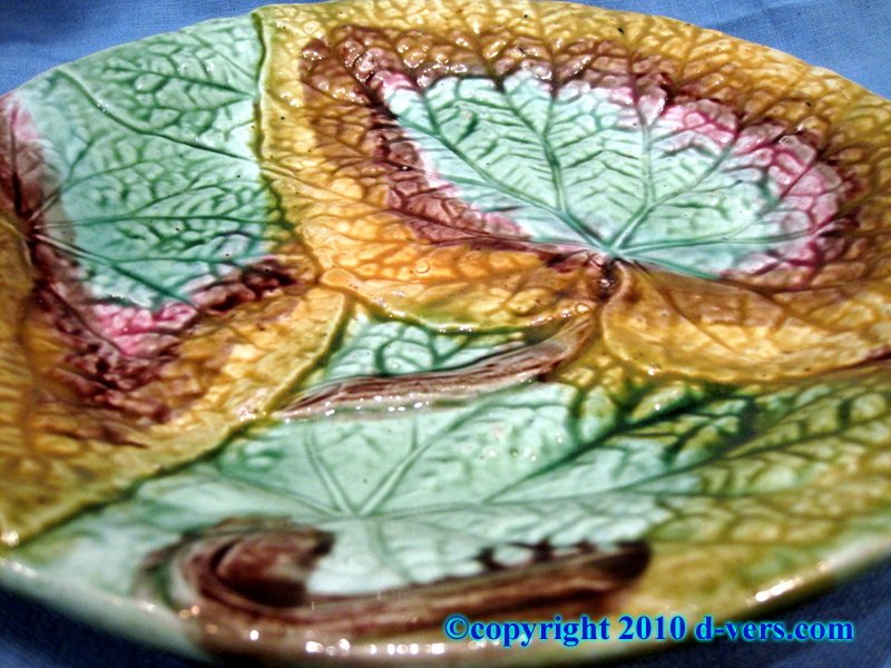 English Majolica Begonia Leaf Plate 19th Century