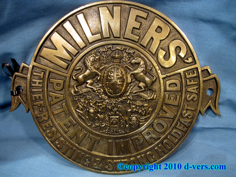 Milner Safe Plate, Brass, England, 19th Century