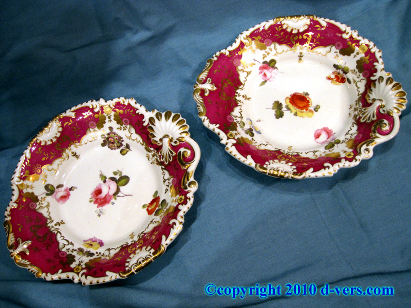 19th Century English Porcelain Hand Painted Dessert Plates