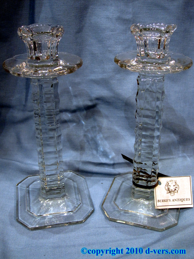 19th Century English Pair of Pressed Glass Candlesticks