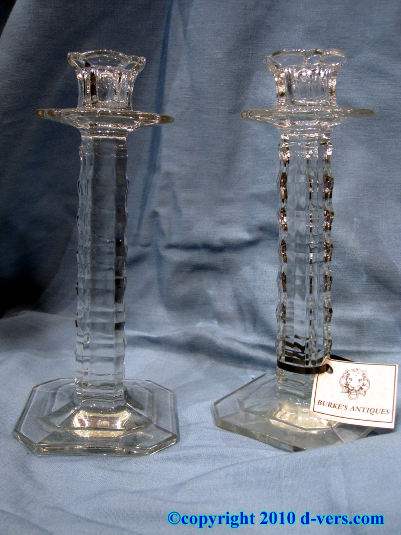 Antique Pressed Glass Candlesticks