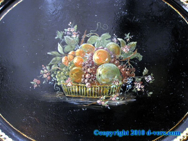 19th Century French Tole Tray with Painted Fruit Basket