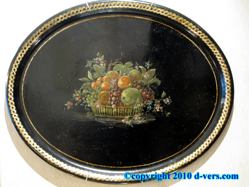 Oval Tole Tray With Painted Fruit Basket, French, 19th Century