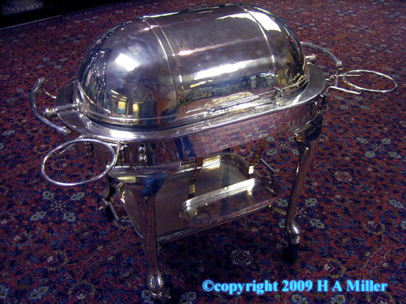 Silver plated meat carving trolley