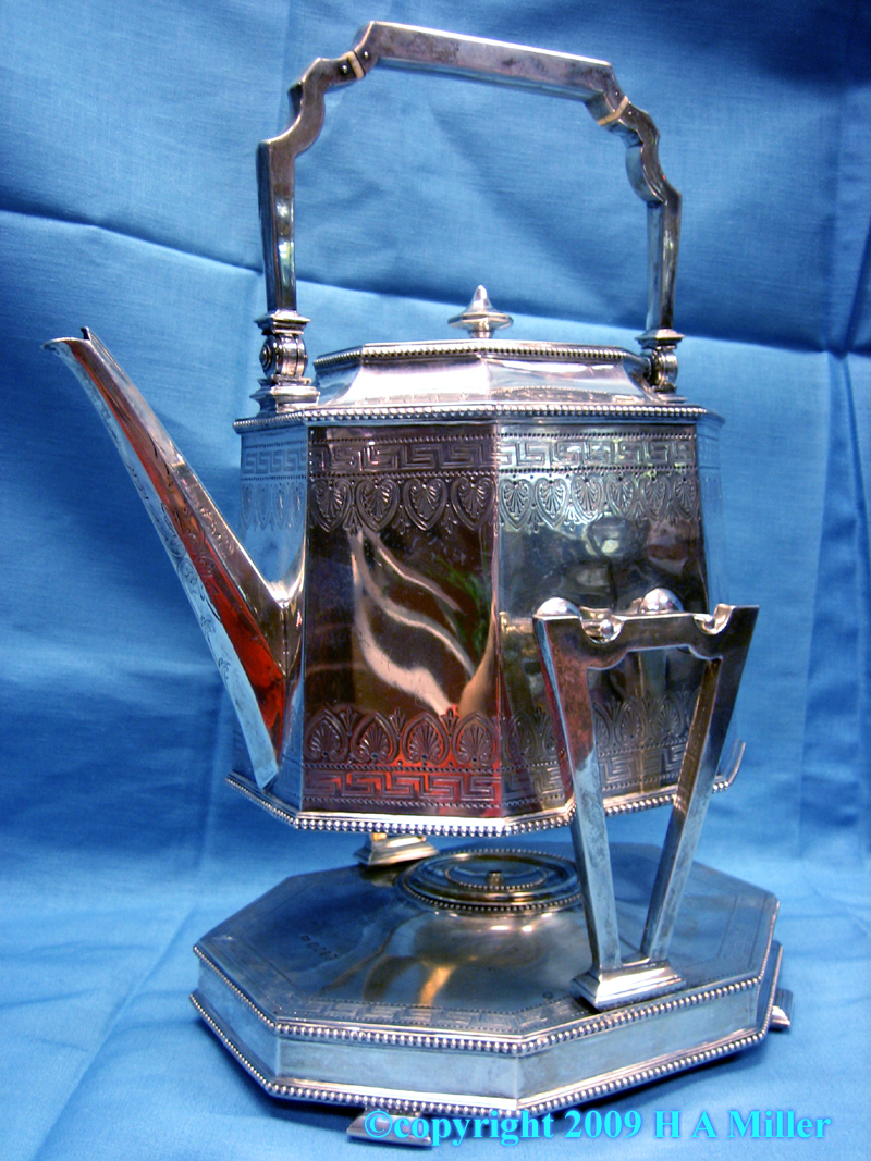 Victorian tilting hot water kettle in sterling silver