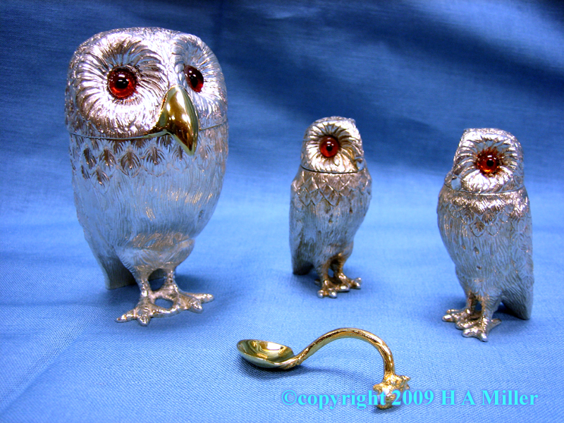 Carved Owl Family Sterling Silver Condiment Set