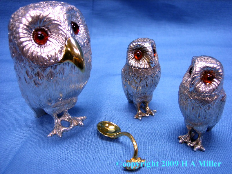 Sterling Silver Owl Condiment Set