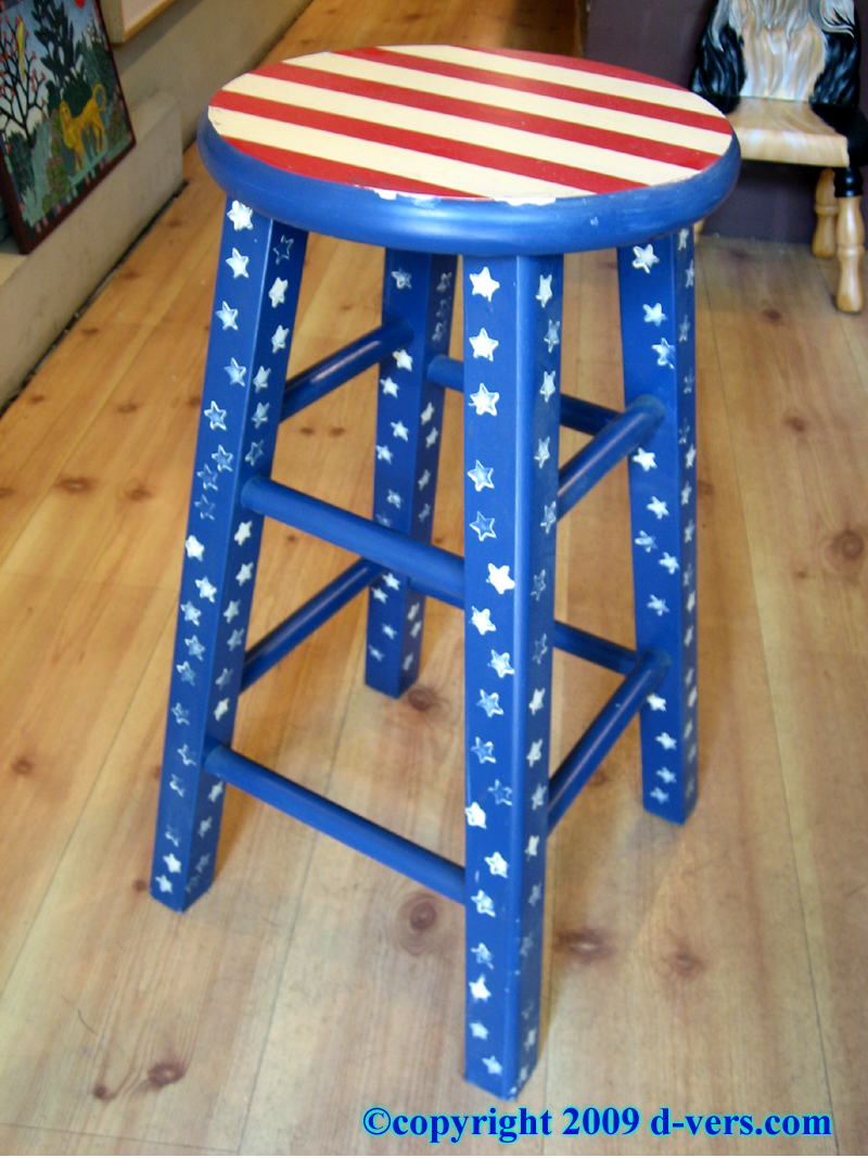 Hand Painted Stool by Peg Armstrong, American Folk Art