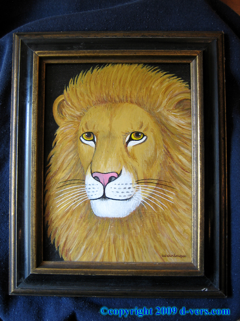 Folk Art Oil Painting by Charles Wehringer titled Lion
