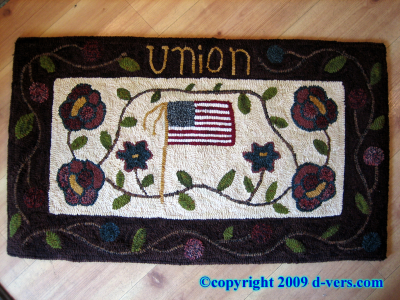 Folk Art Hooked Rug by Margot White titled Union