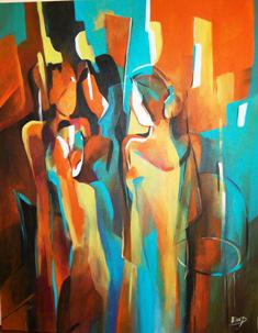 Original Acrylic Painting by Ella Prakash titled Gathering