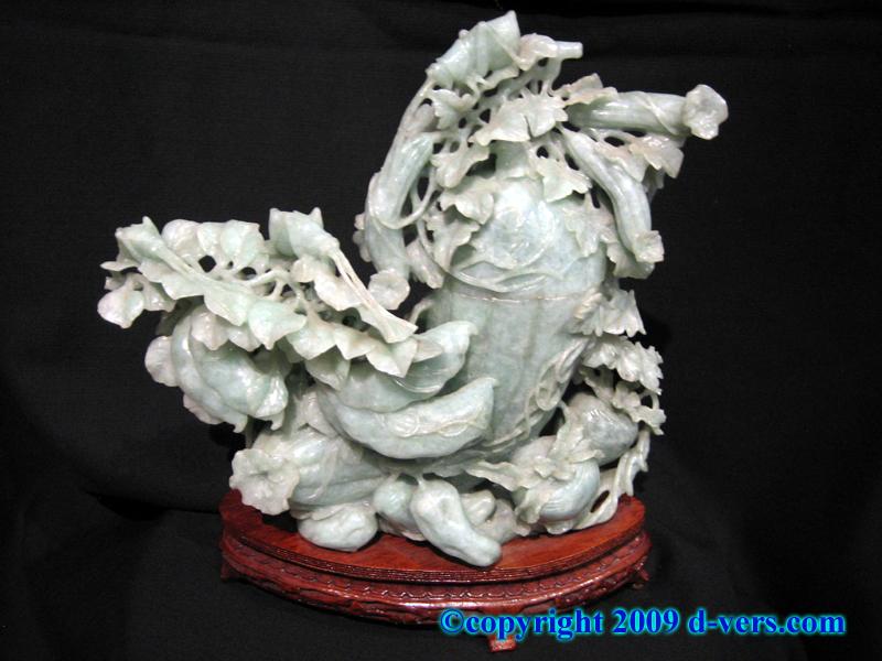 Chinese Jade Jadeite Sculpture Melon Vase with Cricket
