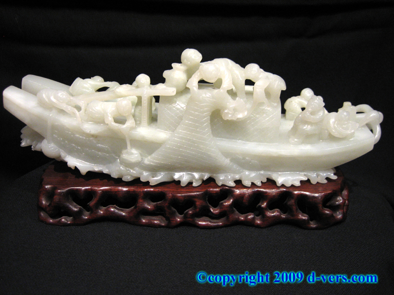 Chinese nephrite sculpture carved fishing boat with fishermen
