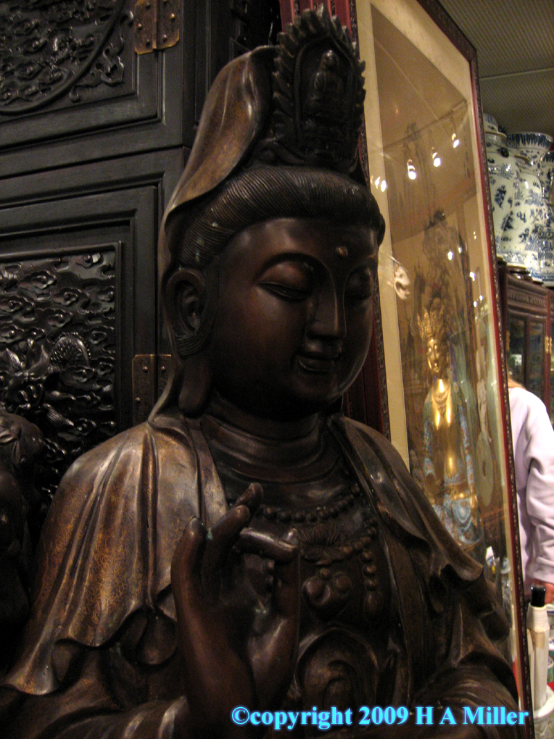 Chinese bronze life-size statue of Kwan Yin, goddess of compassion and mercy
