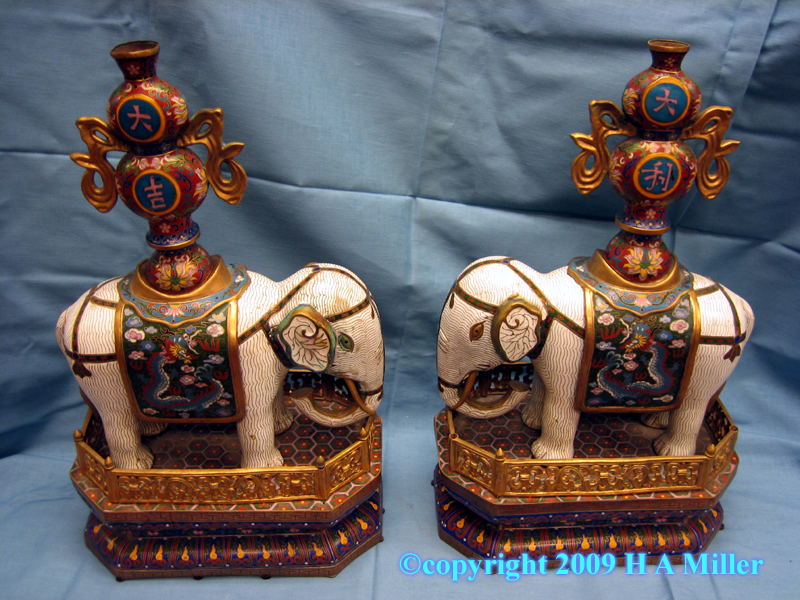 Pair of Chinese enamel cloisonne statues of elephants