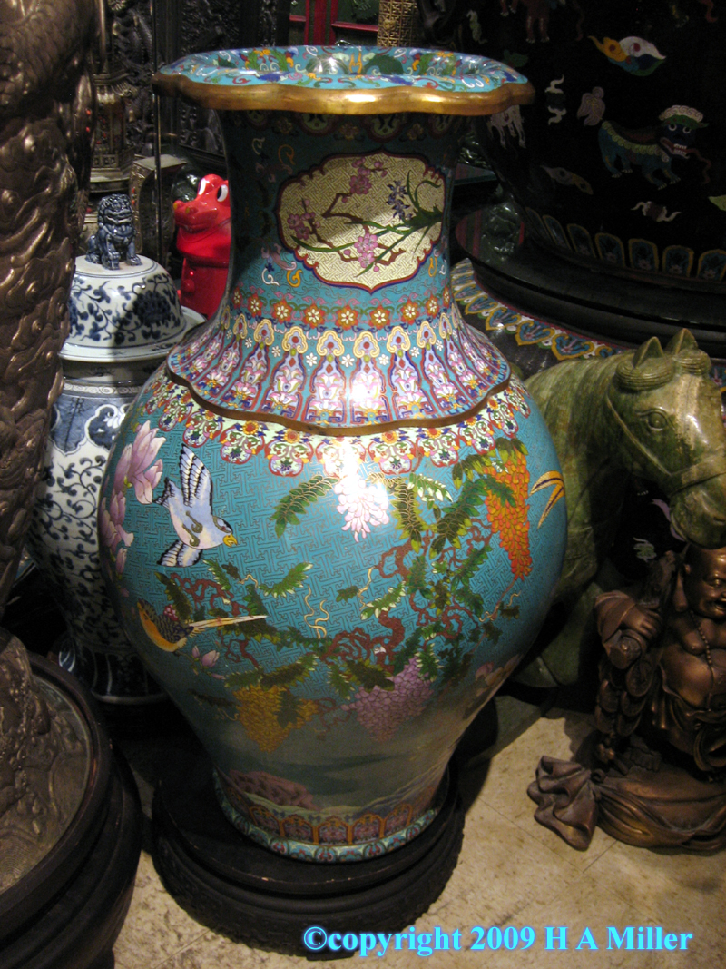 Antique Chinese Cloisonne Vase Bronze Enamelled With Gilding