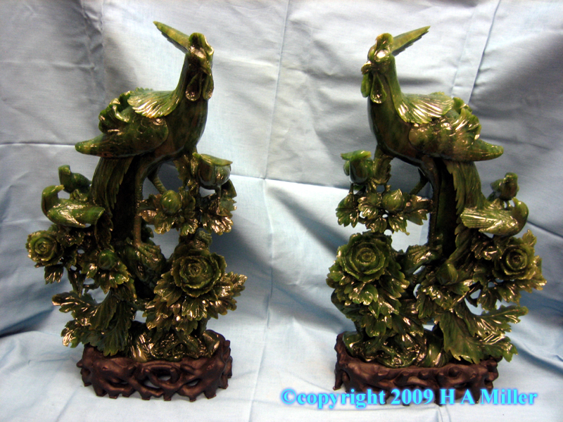 Chinese Carved Jasper Jadeite Phoenix Pair