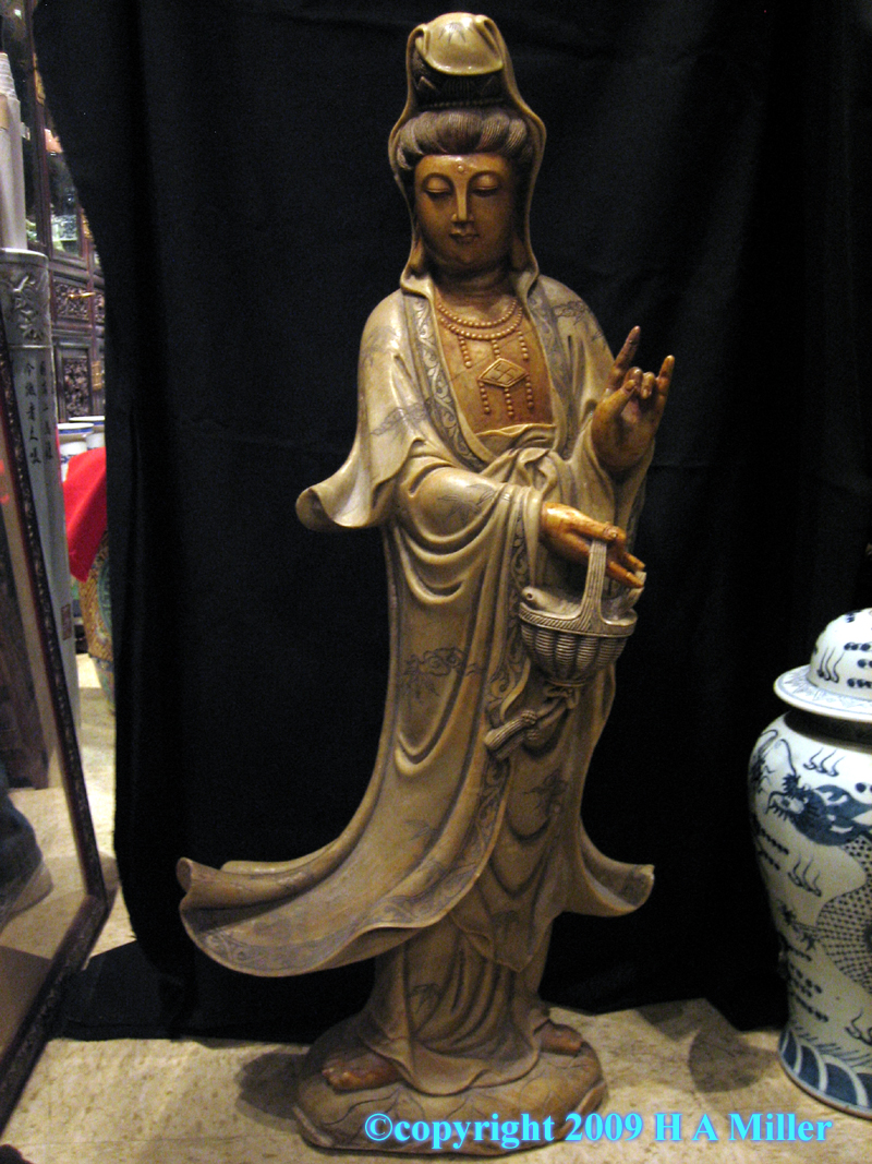 Chinese carved soapstone sculpture of Kwan Yin or Kuan Yin, Buddhist Goddess of Mercy and Compassion