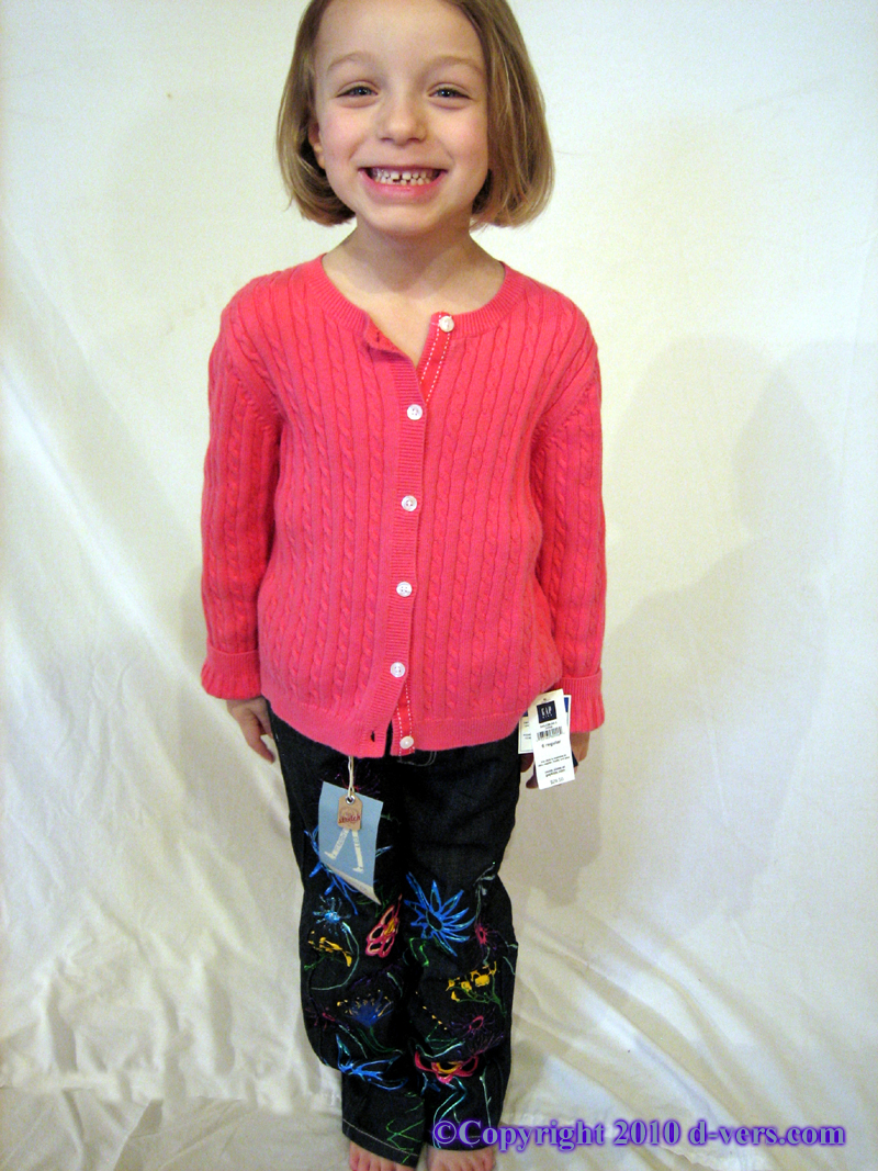 Hand Painted Girls Jeans Floral and Abstract Design