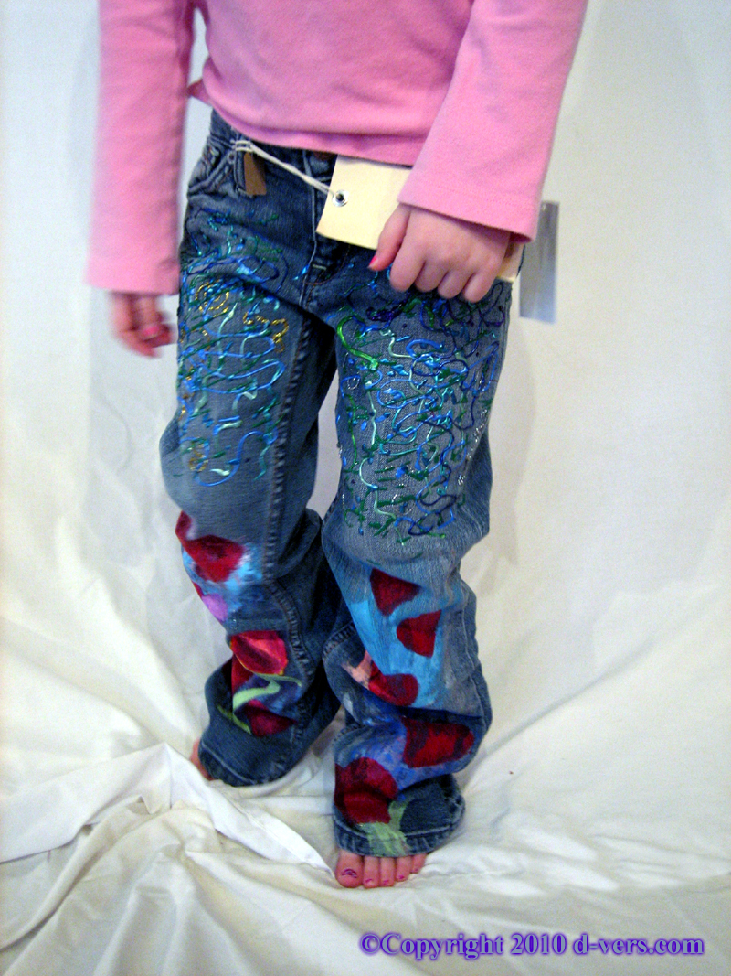 Hand Painted Girls Couture Jeans with Abstract Dimensional and Painted Designs