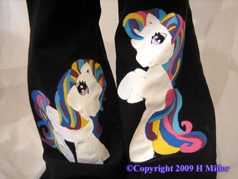 Hand Painted Girls Jeans with Little Pony Characters