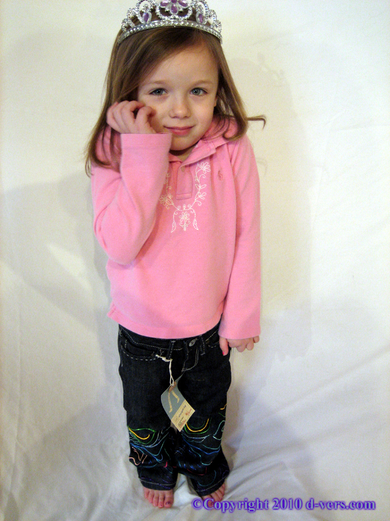 Custom Hand Painted Girls Jeans Couture With Dimensional Paint in Rainbow Colors