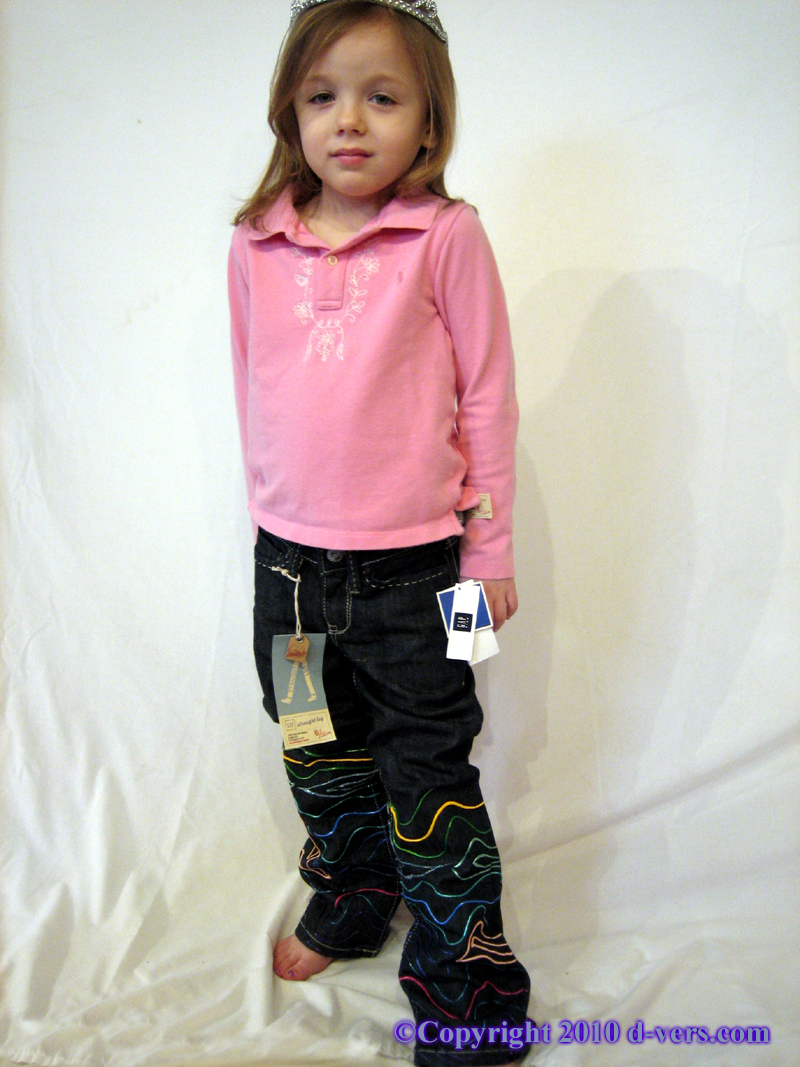 Girls' Custom hand Painted Couture Dimensional Pants Modeled by Sloane